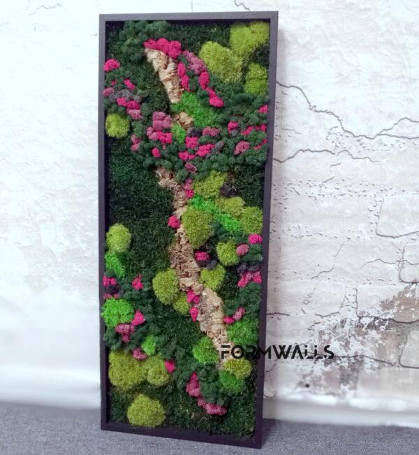 Zielony Obraz z mchów stabilizowanych Fantazja 100 x 40 cm