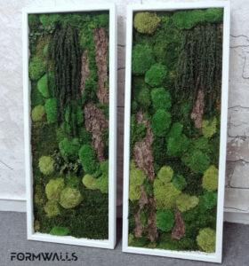 Dwa obraz z mchów stabilizowanych typu forest 100 x 40 cm